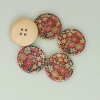 Retro Flower, 30mm, 3cm Round wooden buttons, Craft Supplies, Large Buttons, x 5