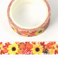Autumnal, sunflowers 15mm Washi Tape, 5m, Decorative Tape, Cards, Journals,