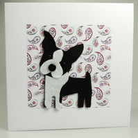 Boston Terrier Dog Card, Blank inside, Birthday, Greeting, Universal card