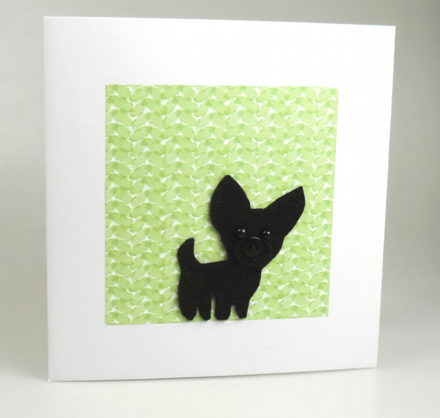 Black Chihuahua Dog Card, Blank inside, Birthday, Greeting, Universal gift card