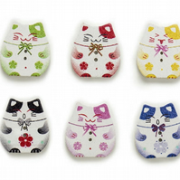 Lucky Cat wooden buttons, Chinese cat, Craft Supplies, Large Buttons, x 10