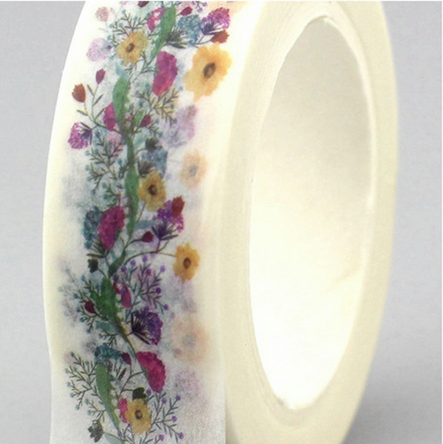 Pretty Floral garland pattern, Decorative Washi Tape, Card making, Journals,10m