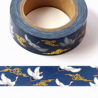 Japanese crane, gold swirl cloud pattern, Decorative Washi Tape, Card making,10m