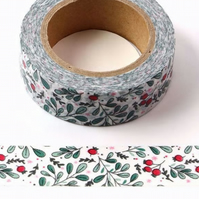 Rosehip berry & sprig pattern, Decorative Washi Tape, Card making, Journals,10m