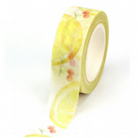 Lemons & Cherries pattern Washi Tape, Decorative Tape, Cards, Journals, 10m