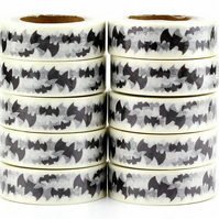 Black Silhouette Bat Birthday Tape, Decorative Washi Tape, Cards, Crafts