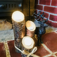 Log candle holders x3