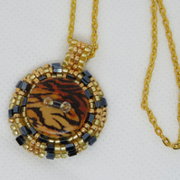 Tiger beaded pendant