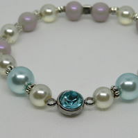 Aqua and Pearl crystal connector bracelet