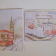 Christmas collection two blank cards London bus and Morris Minor mail van