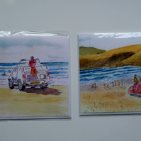 Beach collection two blank greetings cards lifeguard  and Beetle car Cornwall