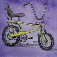 Retro 1970's Chopper style bicycle original  pen and wash watercolour