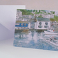 Blank greetings card Polperro harbour Cornwall from original watercolour size A5