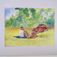 Original watercolour painting countryside picnic with classic Citroen 2CV car