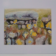 Cornish dry stone wall original watercolour and ink painting textured with salt