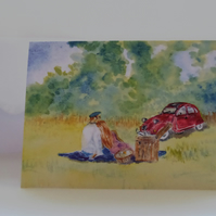 Blank greetings card A5 Citroen 2CV country picnic from original watercolour