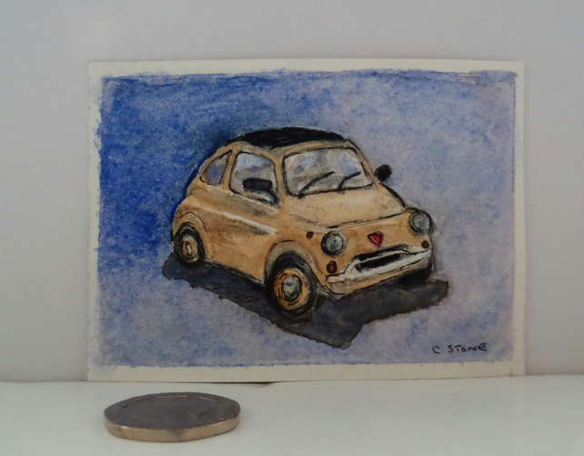 ACEO original miniature watercolour painting classic Fiat 500 Cinquecento car