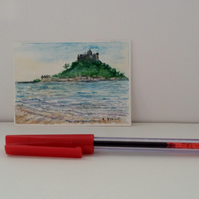 ACEO original miniature watercolour St. Michael's Mount Marazion Cornwall