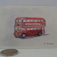 ACEO original miniature watercolour painting classic Routemaster London bus