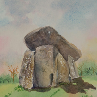 Trethevy Quoit Neolithic monument near Liskeard Cornwall original watercolour