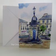 Greetings card Webbs House and Fountain Liskeard Cornwall from original painting