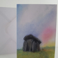 Greetings card A5 Trethevy Quoit Cornwall sunrise from original painting