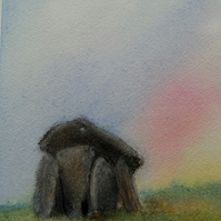 Trethevy Quoit sunrise standing stones Cornwall in watercolour and oil pastel