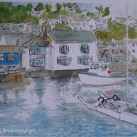 Art print Polperro harbour Cornwall from an original watercolour
