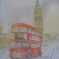 Art print Routemaster London bus winter scene from original watercolour
