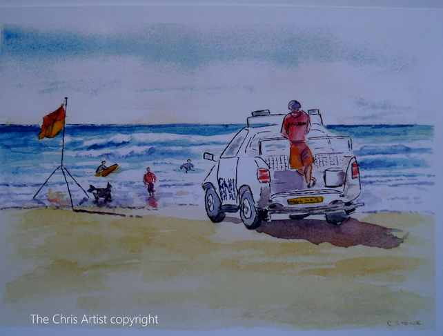 Art print Lifeguard at Bude Cornwall from an original watercolour painting