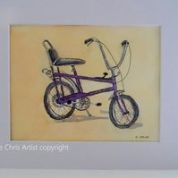 1970s retro Chopper style bicycle original watercolour pen and wash painting.