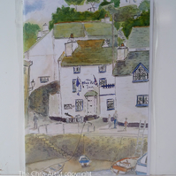 Blank greetings card Blue Peter pub Polperro from original watercolour size A5