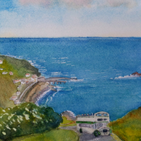 Original watercolour, vintage open top bus ascends from Sennen Cove, Cornwall