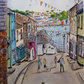 Watercolour pen and wash painting, Fore Street Polruan, view towards Fowey,