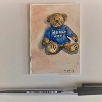 ACEO original miniature watercolour painting of teddy bear in blue jumper