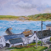Small original watercolour, view of Sennen Cove from Sennen Heights, Cornwall