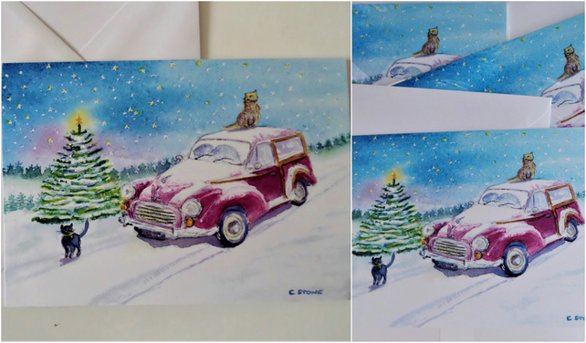 3 pack Moggy Christmas card, Morris Moggy Minor car and cats