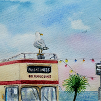 "Original watercolour ""Hitching a Ride"" seagull on top deck of open top bus Devon"