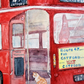 "Original watercolour painting ""Cat Rides to Catford"", on Routemaster London bus"
