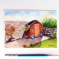 "Small original watercolour painting, garden shed 7"" x 5"""