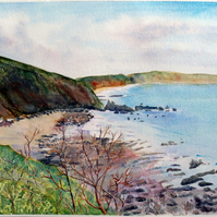 Finnygook Beach Portwrinkle, Cornwall original watercolour oil pastel painting