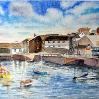 Original watercolour painting Penzance Harbour Cornwall