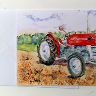 Blank greetings card A5 Massey Ferguson 135 tractor from original watercolour.