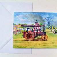Blank greetings card, traction engines at country fair from original watercolour