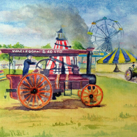Art print of traction engines at a country fair from original watercolour