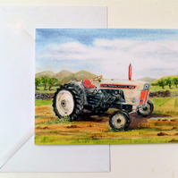 Greetings card blank David Brown 880  tractor from original watercolour