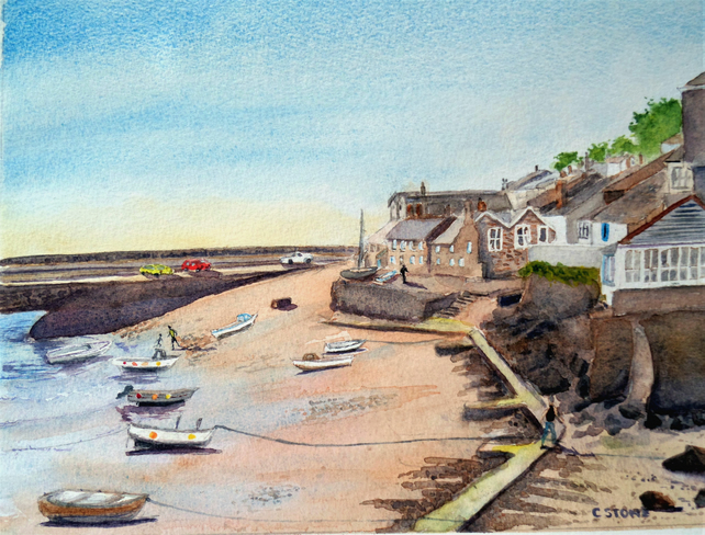 Original watercolour painting, Mousehole Harbour Cornwall at low tide