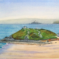 Original watercolour painting Porthmeor Beach and The Island St. Ives Cornwall