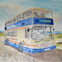 Bristol VRT Western National at  Lands End original watercolour painting