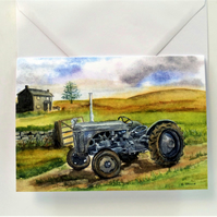 Blank greetings card A5 Massey Ferguson TE20 tractor from original watercolour.